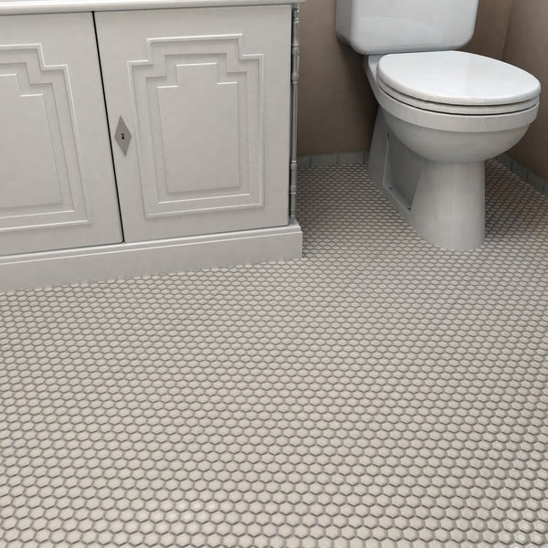 SomerTile 10.25x11.75-in Victorian Hex Matte Biscuit Porcelain Mosaic Tiles (Pack of 10)