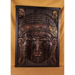 Mirrored Hand-Carved Antique Finish Buddha Panel (India)
