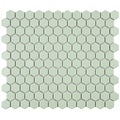 SomerTile 10.25x11.75-in Victorian Hex Light Green Porcelain Mosaic Tile (Pack of 10)