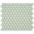 SomerTile 10.25x11.75-in Victorian Hex Light Green Porcelain Mosaic Tile (Pack of 10)