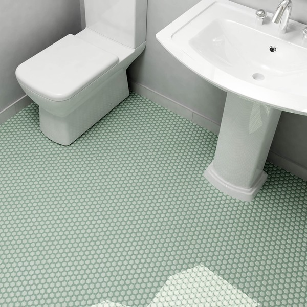 SomerTile 10.25x11.75-inch Victorian Hex Light Green Porcelain Mosaic Floor and Wall Tile (Case of 10)