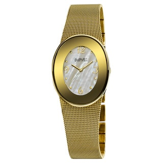 August Steiner Women's Quartz Gold-Tone Oval Mesh Bracelet Watch