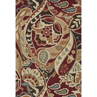 "Hand-Hooked Savannah Red Area Rug (7'6"" x 9'6"")"