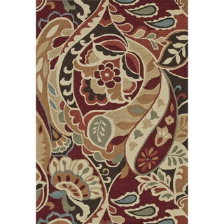 Hand-Hooked Savannah Red Area Rug (7'6