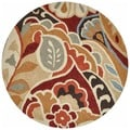 Hand-hooked Savannah Red Abstract Rug (3' Round)