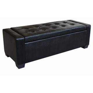 Black Leather Tufted Arm Storage Bench Ottoman