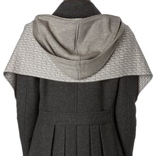 Fendi Light Grey Zucchino Wool Hooded Scarf