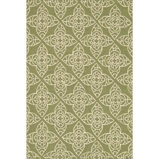 Hand-hooked Savannah Green Area Rug (5'0 x 7'6)