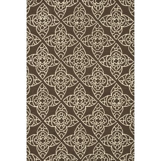 Hand-hooked Savannah Brown Rug (7'6 x 9'6)