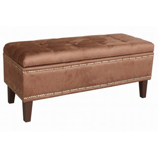 Chocolate Microfiber Tufted Nailhead Storage Bench Ottoman