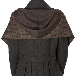 Fendi Heather Brown Zucchino Wool Hooded Scarf