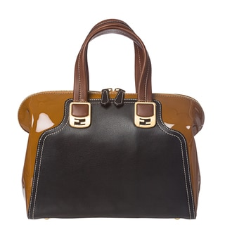 Fendi 'Chameleon' Tan/ Black Color-block Leather Satchel