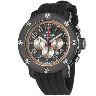 TW Steel Men's TW612 'GrandeurTech' Grey Dial Black Rubber Strap Watch