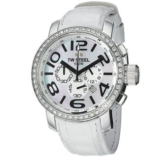 TW Steel Men's 'Grandeur' Mother Of Pearl Dial White Strap Watch