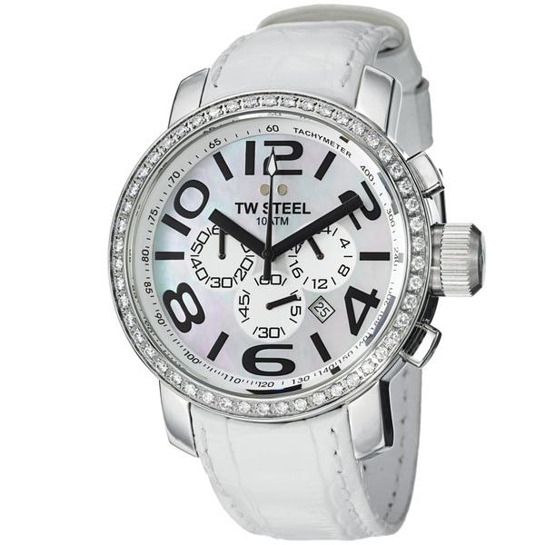 TW Steel Men's TW54 'Grandeur' Mother Of Pearl Dial White Strap Watch