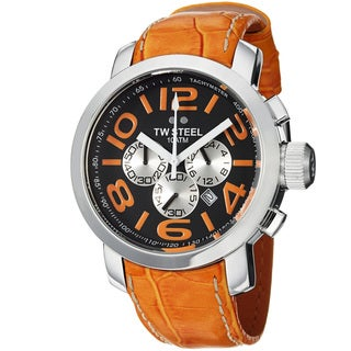 TW Steel Men's 'Grandeur' Black Dial Orange Leather Strap Quartz Watch