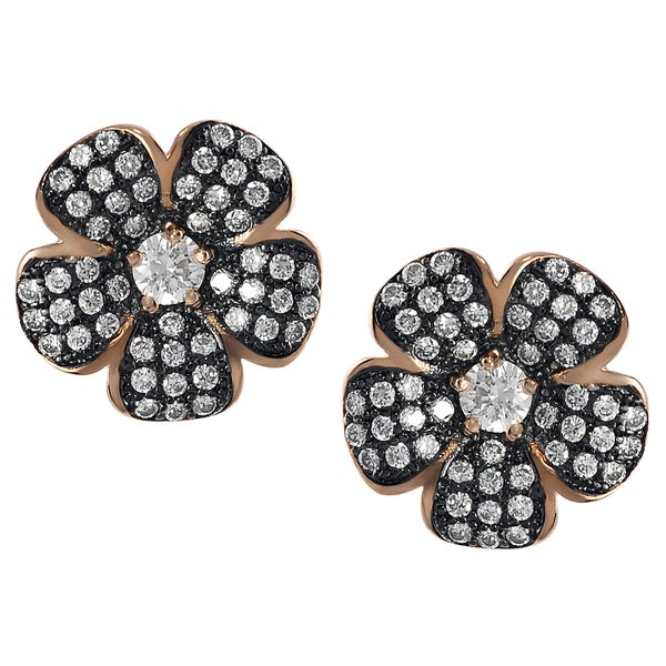 Journee Collection Rose Gold Sterling Silver Cubic Zirconia Earrings