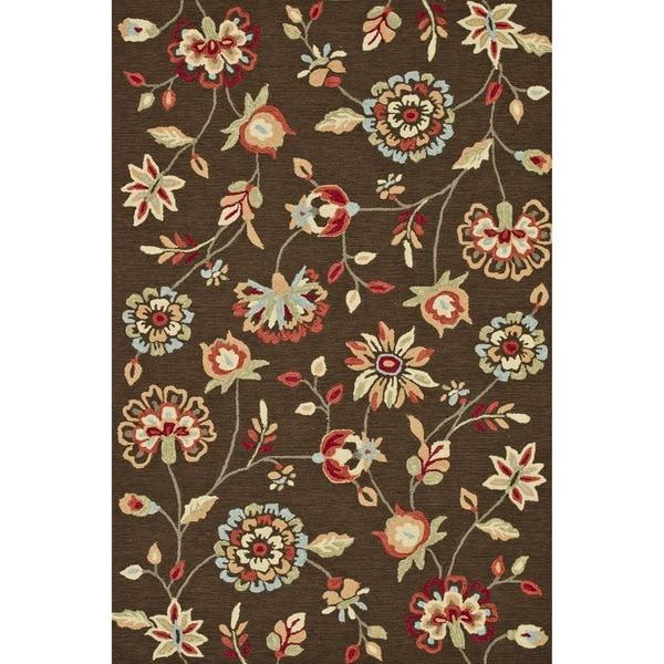 Hand-hooked Savannah Brown Rug (7'6 x 9'6)