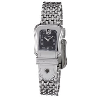 Fendi Women's F386210 'B. Fendi' Black Dial Stainless Steel Quartz Watch