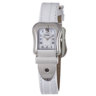 Fendi Women's F371244 'B. Fendi' Mother Of Pearl Dial White Strap Quartz Watch