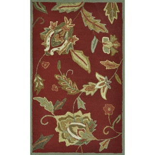 Hand-Hooked Savannah Red Rug (2'3' x 3'9')