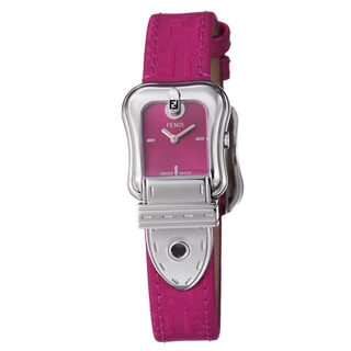 Fendi Women's F370277F 'B. Fendi' Hot Pink Dial Hot Pink Leather Strap Watch