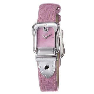 Fendi Women's F370277BF 'B. Fendi' Pink Dial Pink Fabric Leather Strap Watch