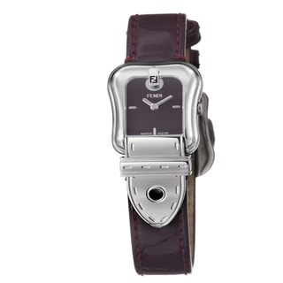 Fendi Women's F370277 'B. Fendi' Burgundy Dial Patent Leather Strap Watch
