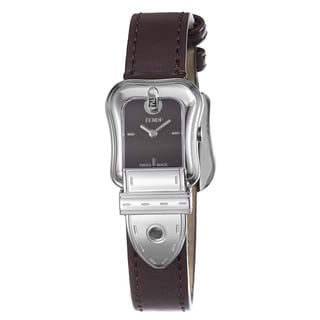 Fendi Women's F370222 'B. Fendi' Brown Dial Brown Satin Leather Strap Watch
