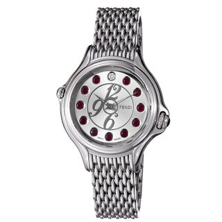 Fendi Women's 'Crazy Carats' Silver Crystal Dial Stainless Steel Watch