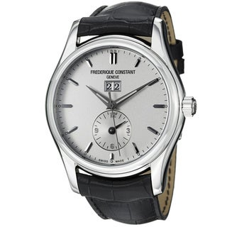 Frederique Constant Men's FC-325S6B6 'Index' Silver-dial Leather-strap Swiss Automatic Watch