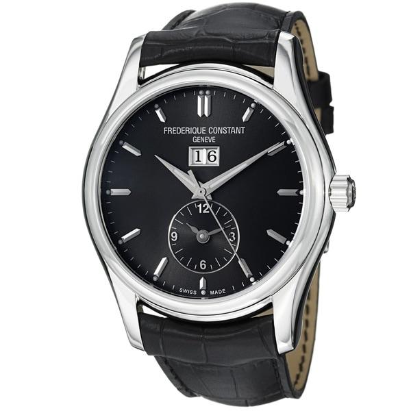 Frederique Constant Men's 'Index' Black Dial Leather Strap Watch