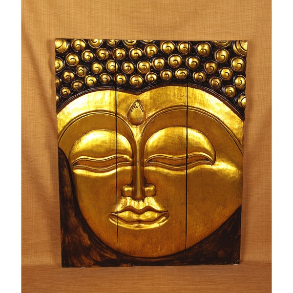 Hand-Carved Golden Buddha Panel (India)