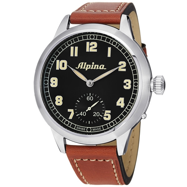 Alpina Men's 'Aviation' Black Dial Brown Leather Strap Automatic Watch