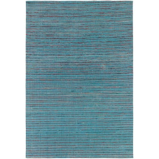 Hand-tufted Mandara Blue Silk Rug