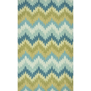 Hand-Hooked Savannah Stripe Green Rug (2'3 x 3'9)