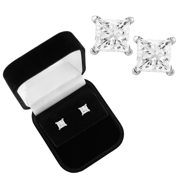 Montebello 14k White Gold 1 1/4ct TDW Diamond Stud Earrings and Gift Box (I-J, I2-I3)