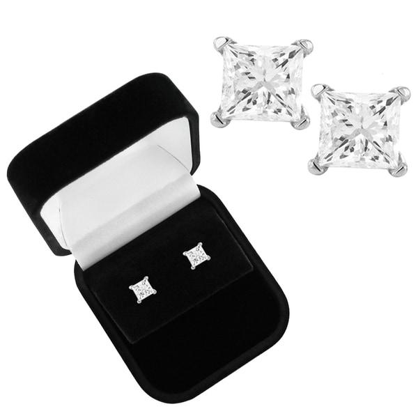 14k White Gold 1 1/2ct TDW Diamond Stud Earrings and Gift Box (I-J, I2-I3)