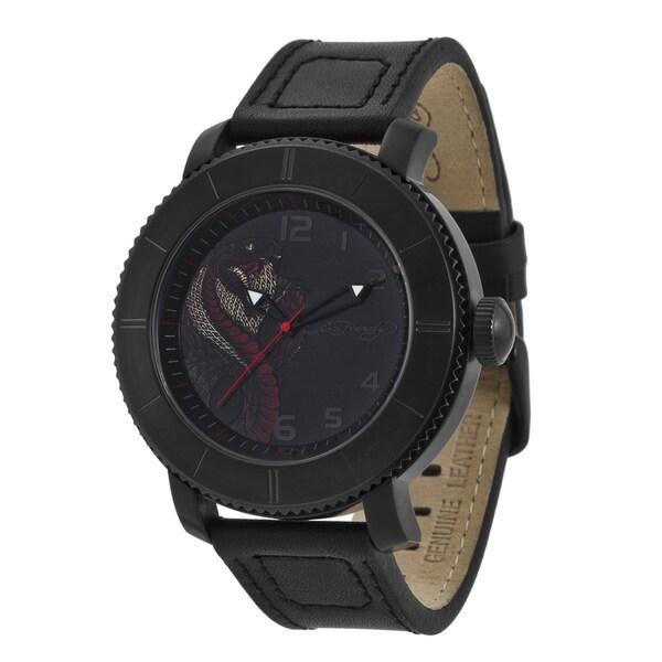 Ed Hardy Men's Black Steel Cobra Watch