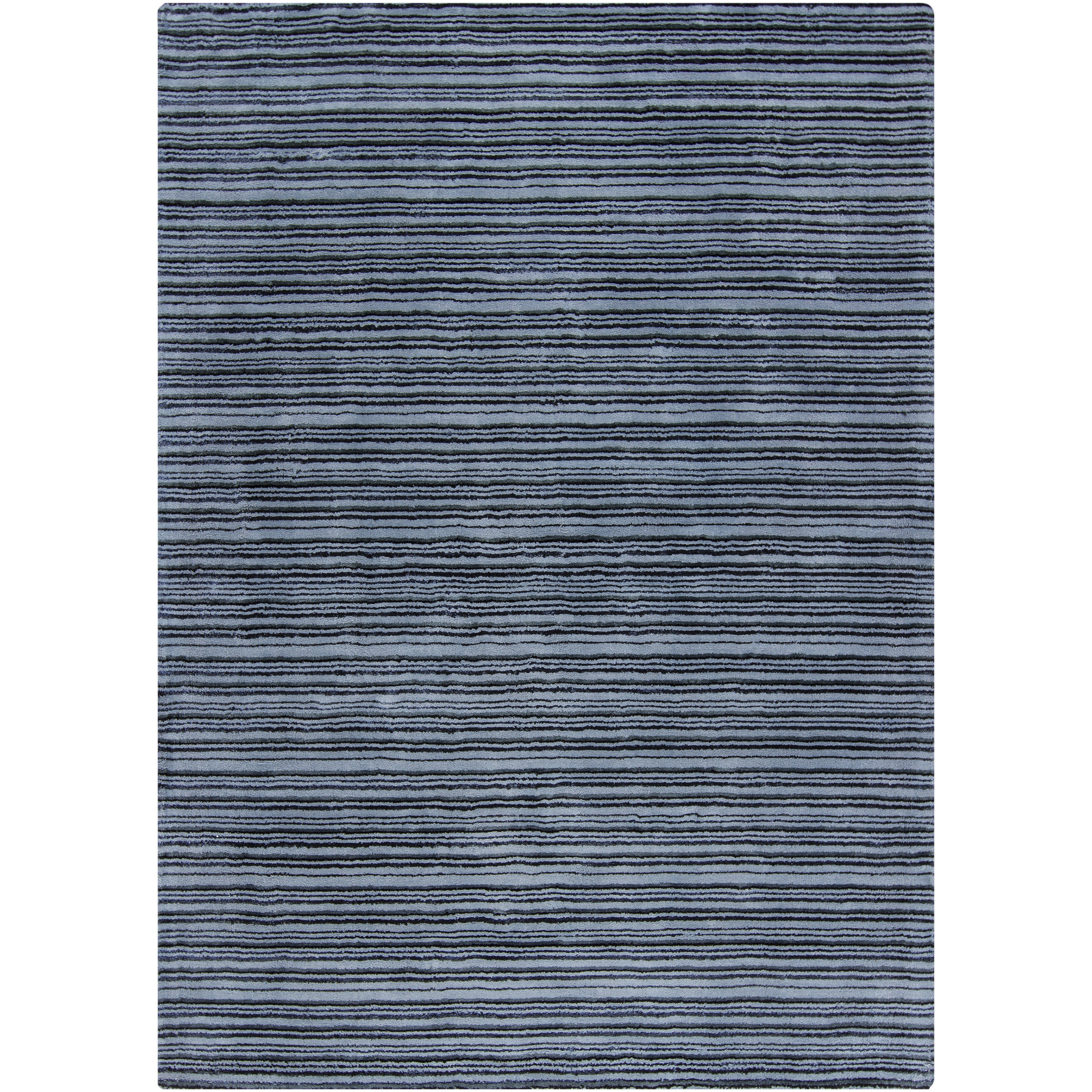 Mandara Hand-Woven Gray Stripes Area Rug