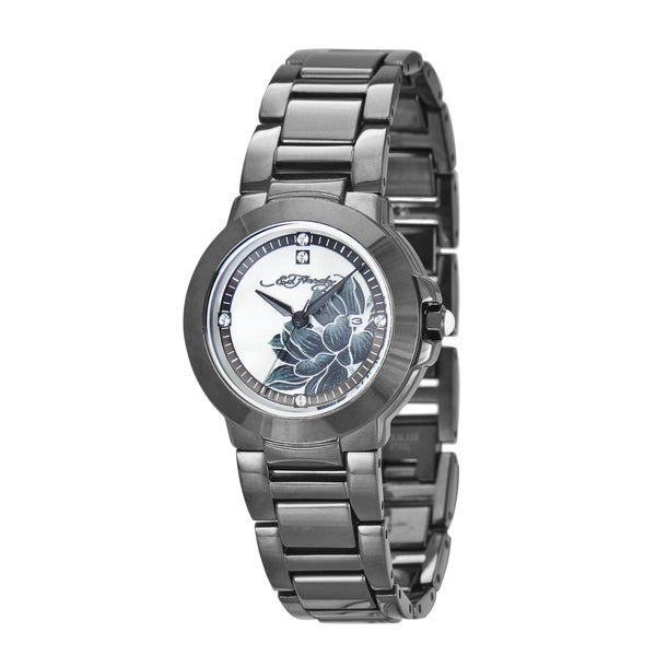 Ed Hardy Women's Gunmetal Steel and Ceramic Flower Watch