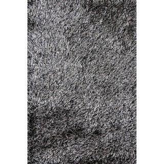 Hand-tufted Rocco Sliver/ Black Shag Rug (7'6 x 9'6)