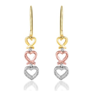 Tri-color Gold over Silver Diamond Accent Heart Earrings