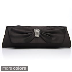 J. Furmani Women's Black Satin Flap Clutch