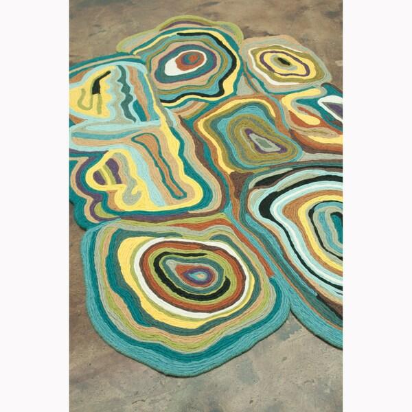 Flat Weave Zoey Peacock Wool Rug (5'0 x 7'6)