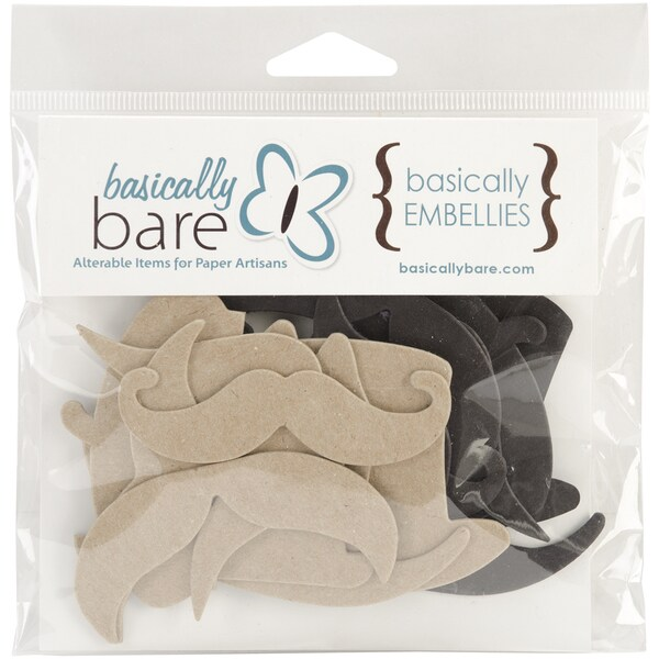 Basically Embellies Blank Embellishments 8/Pkg-Hats & Staches