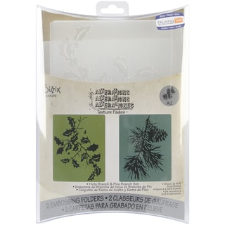 Sizzix Texture Fades Embossing Folders By Tim Holtz 2/Pkg-Holly Branch & Pine Branch