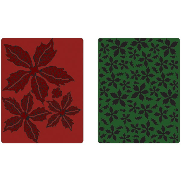 Sizzix Texture Fades Embossing Folders By Tim Holtz 2/Pkg-Textured Poinsettia Pattern