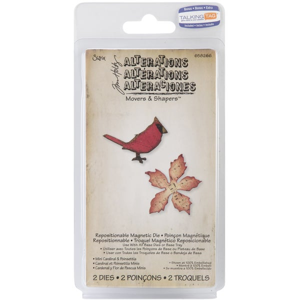 Sizzix Movers & Shapers Magnetic Dies By Tim Holtz 2/Pkg-Mini Cardinal & Poinsettia