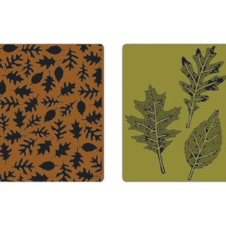 Sizzix Texture Fades Embossing Folders By Tim Holtz 2/Pkg-Leaves